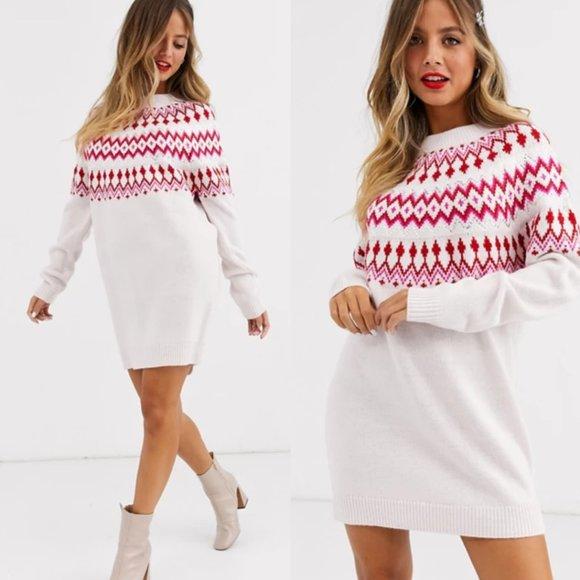NWT ASOS Embellished Christmas Sweater Dress